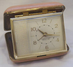 VINTAGE WESTCLOX LIGHTED DIAL GOLD PLATED TRAVEL ALARM CLOCK, MADE IN JAPAN