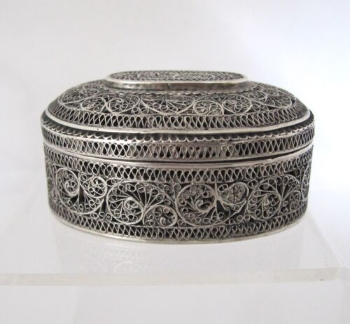 Rare early Indian filigree silver Padan box Deccan c 1840