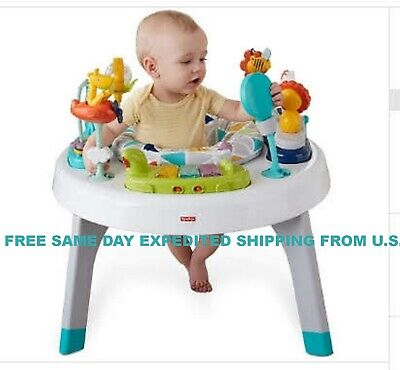 Fisher-Price 2-in-1 Sit-to-Stand Activity Center, Spin 'n Play Safari Walker