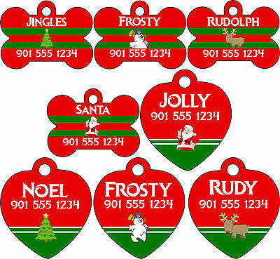 Christmas Themed Pet Id Tags for Dogs & Cats Personalized w/ Name & Number