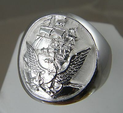 US Navy Official Navy Seal .925 sterling silver mens ring jewelry size 9.5 (Navy Mens Ring)