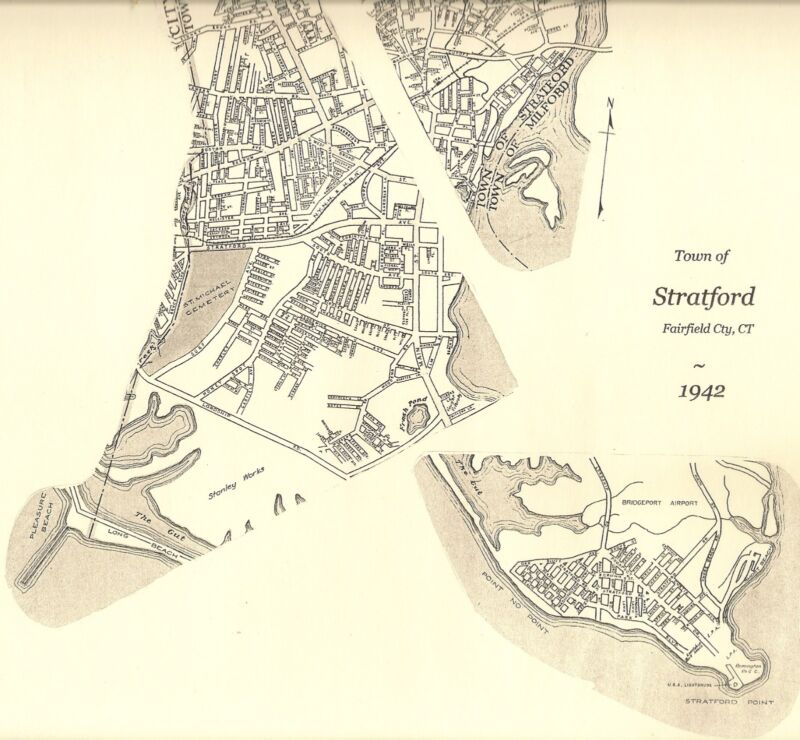 Stratford CT 1942 Map with Businesses and Homeowners Names Shown