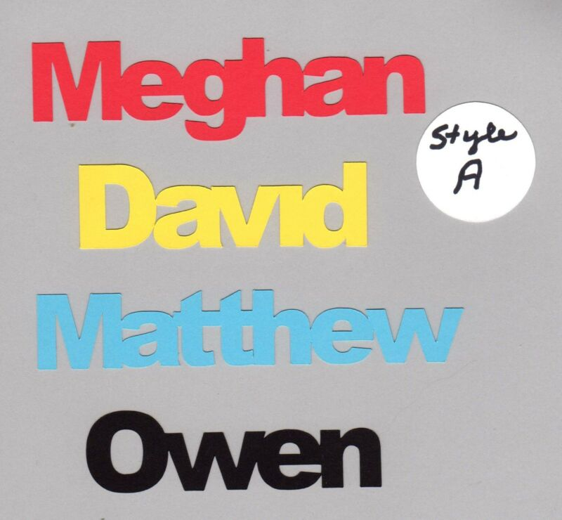 Name Die Cuts - Any Name - You Choose Color and Size - 2 styles available, 2 pcs