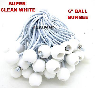 "(50) 6"" White Ball BUNGEE Cord Tarp Bungee Tie Down Strap Bungi Canopy Straps"