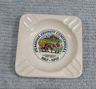 Old Ft Pembina County Nd 1867 1967 Centennial 5  Ashtray Metis Ox Cart Free S H