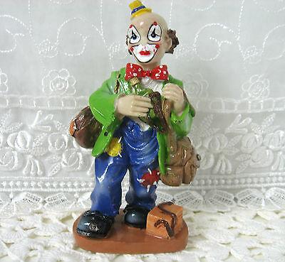 "Hobo Clown Vintage Polystone Figurine 6"" Tall"