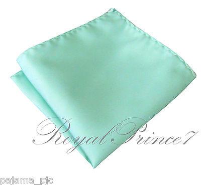 "New Men's SOLID Pocket Square Hankie Only Aqua Mint Green 10"" x 10"" Wedding Prom"
