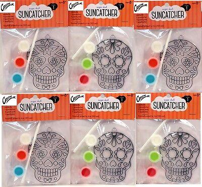 Suncatcher Craft Kits For Kids- 6 Complete Kits- Sugar Skulls- Great Party - Kits For Kids