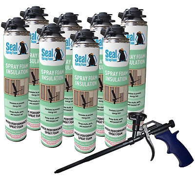 Seal Spray Closed Cell Insulating Foam Can Kit Wgun Foam Applicator 200 Bf