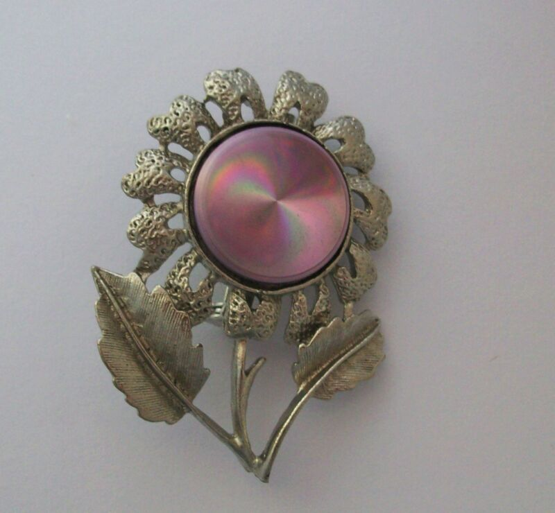 Pin Brooch Purple Sunfllower Jewelarama Refraction Hologram Silvertone Metal