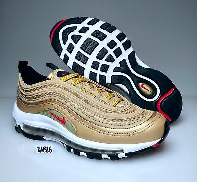 online store c3516 074bf Nike Air Max 97 OG QS Metallic Gold Varsity Red 884421 700 Mens and Kids GS  2018