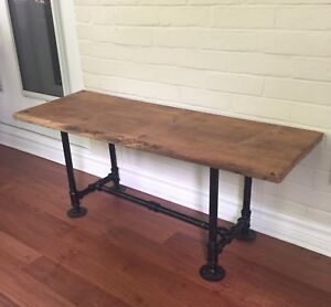 Live Edge Wood Bench  / Coffee Table- Industrial Steel Pipe