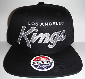 Los Angeles LA Kings Authentic Black Script Snapback NWT Hat Zephyr Cap 738ed663ac5b