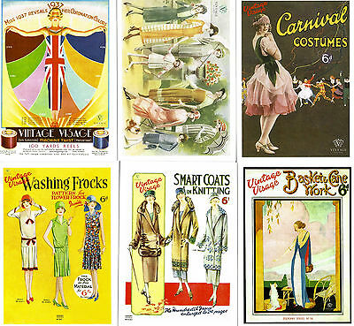 6 Vintage Visage Fashion Postcards,1910s, 1920s, 1930s fashions, ready to post