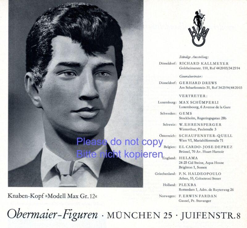 Mannequin Obermaier Munich German ad 1962 display dummy Model Max advertising +