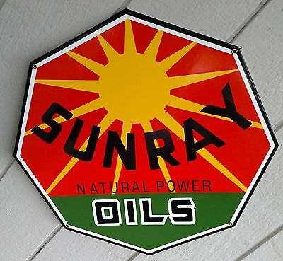Vc Vintage Concepts Sunray Natural Power Oils Porcelain Sign Gas Oil Gasoline