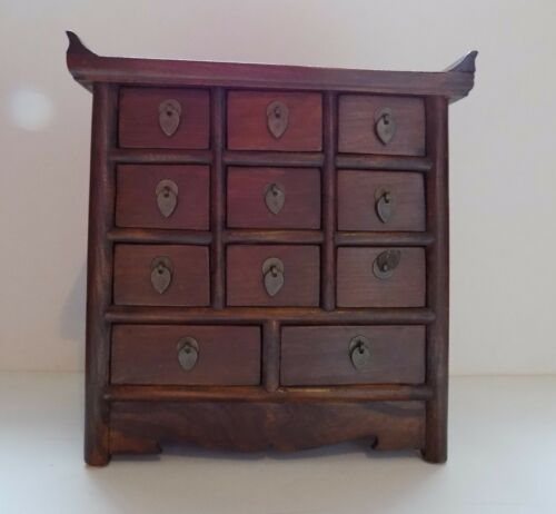 Chinese Antique Apothecary Chest Jewelry Case Pagoda Top 11 Drawers