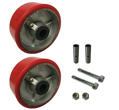 2 Caster Wheels Set 4 5 6 8 10 Polyurethane On Cast Iron Wheel Set