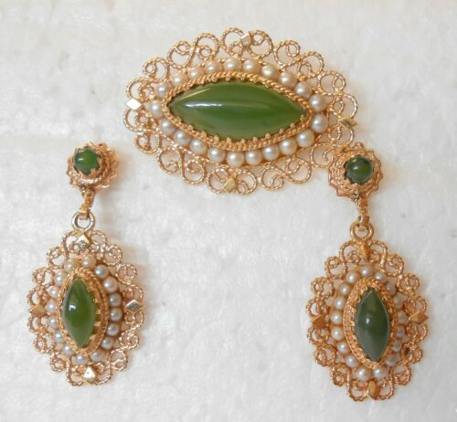 S. Gamliel 14K Gold Filigree Jade Seed Pearl 3 pc Set Pendant / Brooch Earrings