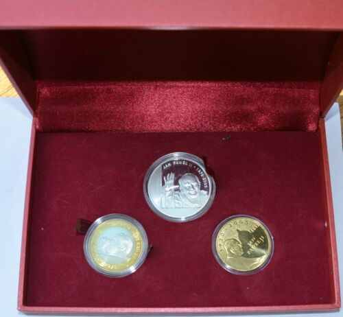 Boxed set of 3 coins, Pope John Paul II, 30 years of Pontificate, silver, COA
