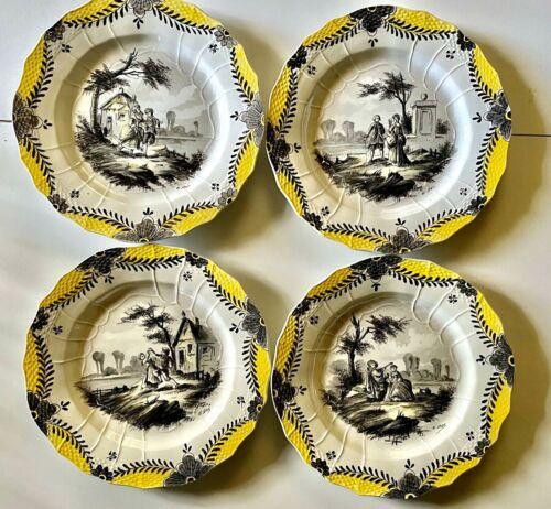 Antique 4 Porcelain plates French FAIENCE SCEAUX 1777 Hand  decorated PARIS