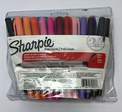 Sharpie Precision Ultra Fine Permanent Markers Assorted Colors 18q1273 24 Count