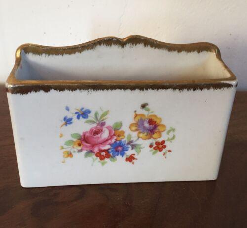 Antique Old Paris Porcelain Limoges Desk Letter Holder Box Floral Sprig Gilt
