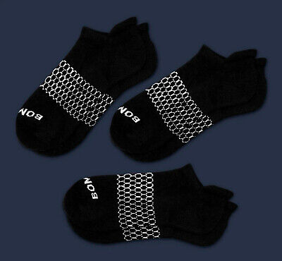 3-Pack Bombas Men's Ankle Socks Black Honeycomb LARGE 7-12 NWT