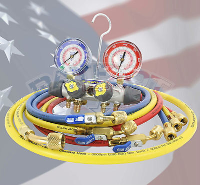 Yellow Jacket 49968 Titan 4v Manifold R-22404a410a With 60 Ball Valve Hoses