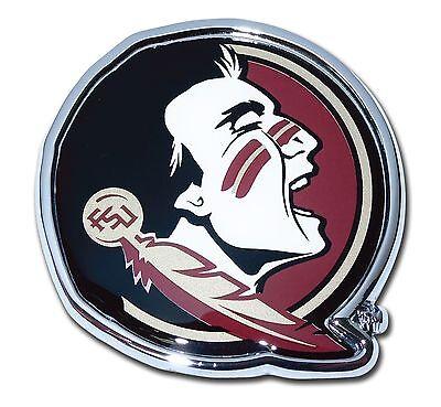 Florida State Seminoles Chrome Metal Auto Emblem (Seminole with Color) NCAA