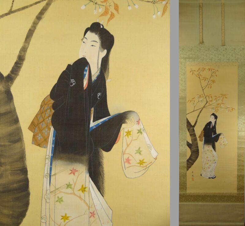 UK707 BIJINGA Beautiful Women Kimono Hanging Scroll Japanese painting Picture