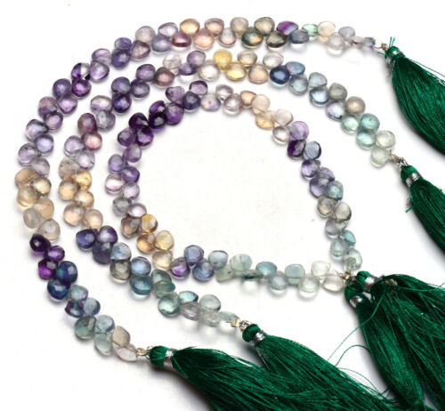 """Natural Gem Rainbow Fluorite 6.5mm Size Faceted Heart Briolette Beads 8"""" Strand"""