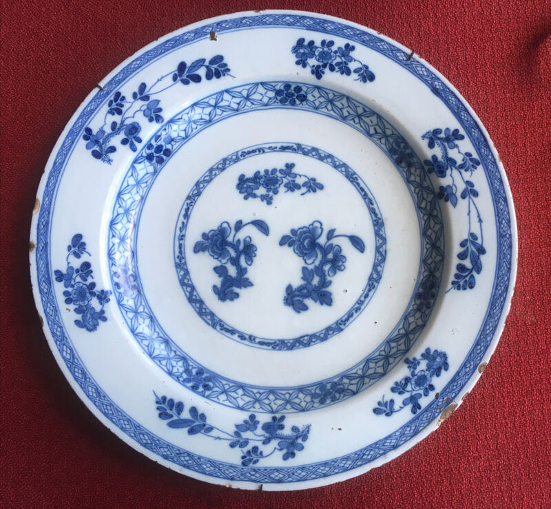 ANTIQUE DELFT CHARGER PLATE 14 Inch
