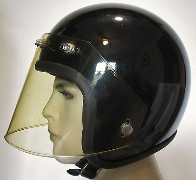 Vintage Black DOT Motorcycle Helmet With Tinted Shield Size Large