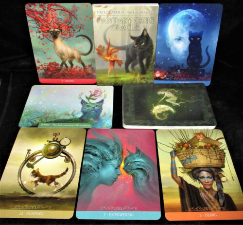 SEALED NEW ~ BARBIERI FANTASY CATS ORACLE CARDS & BOOK SET CUTE & WISE FELINES