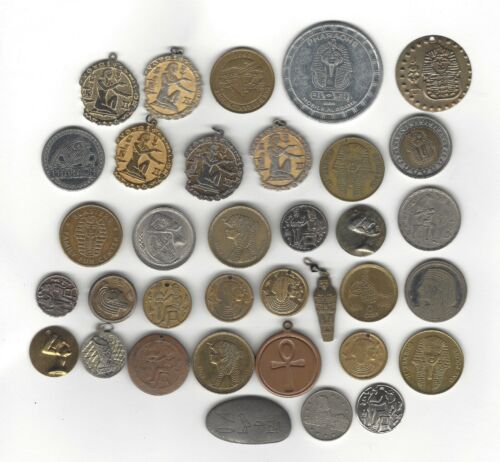 V2. VINTAGE LOT OF 36 CHARMS, TOKENS & MORE - EGYPTIAN THEMED, TUT, PYRAMID ++