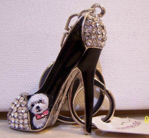 Bichon Frise hand painted  crystal key chain stiletto charm