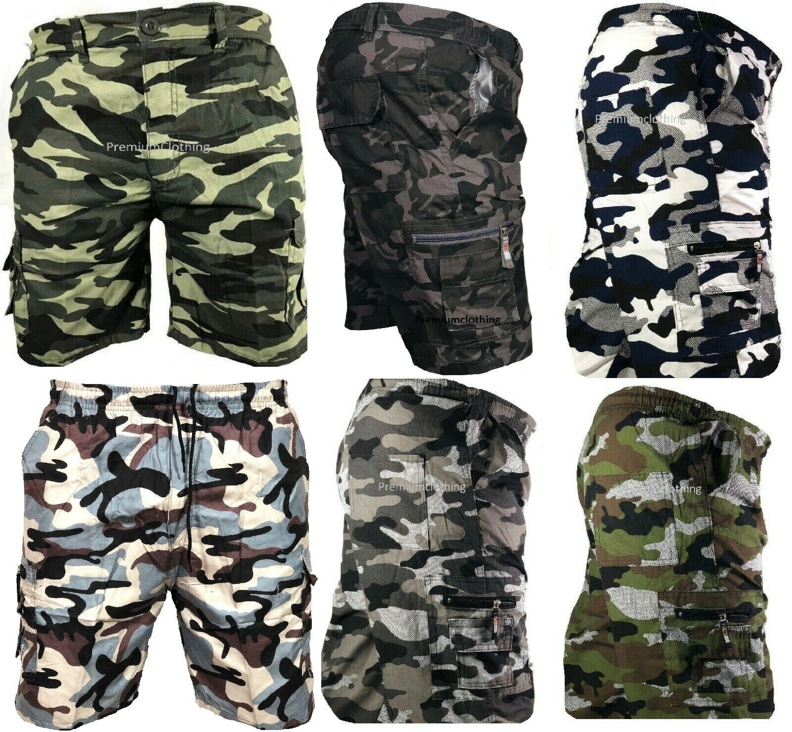 Mens Army Camouflage Cargo Elasticated Shorts Cotton Combat Half Pants Plain 3xl