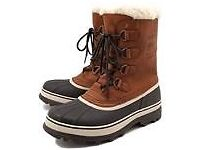 Genuine New Sorel Caribou Wool Mens Waterproof Brown Leather Snow Boots Size UK 10