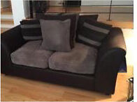 2 Seater black leather and grey fabric sofa