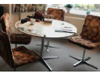 Rare retro circular dining table and 4 chairs