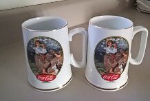 Coca Cola Collector's Porcelain Mugs with 22 k Gold Trim
