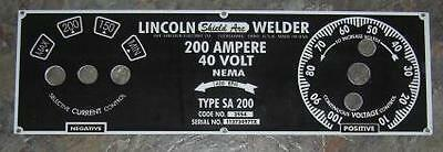 Lincoln Electric Arc Welder Sa-200-m-6549 .025 Aluminum Control Plate