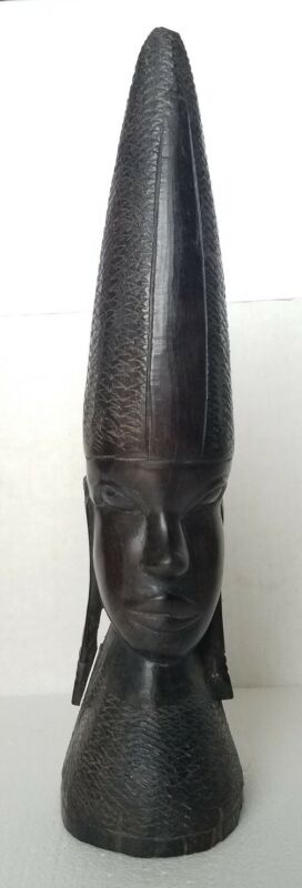 Vintage ebony wood hand carved female  Head figure made in Tanzania Africa