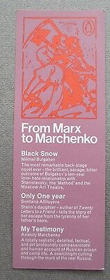 BOOKMARK Penguin Books Marx to Marchenko Russian PROMOTIONAL Vintage 1970s