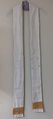 CLERGY STOLE LITURGICAL VESTMENT OFF WHITE SILK BEAUTIFUL DETAIL