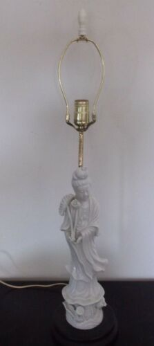 Vintage Japanese Seyel China Blanc de Chine White Kwan Yin Figure Lamp