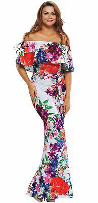 Multi-color Floral Print Off Shoulder Belted Maxi Dress - Belted Floral Print Kleid
