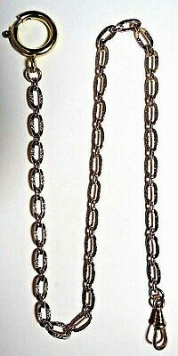 """VINTAGE POCKET WATCH GOLD TONE FOB CLASP SWIVEL CHAIN 15 1/2"""""""