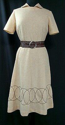 Vintage 70's Beige & Yellow Dress W/ Circle  Pattern Medium By Ladies Pride
